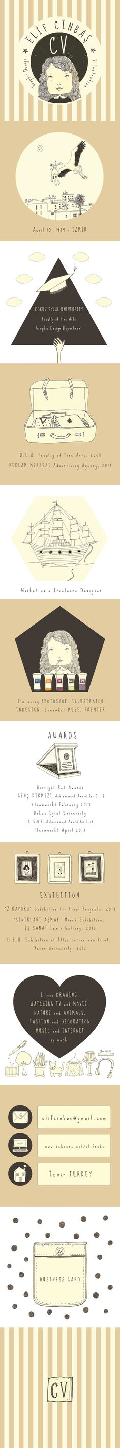 Illustrations of my CV design by elif cinbaş, via Behance