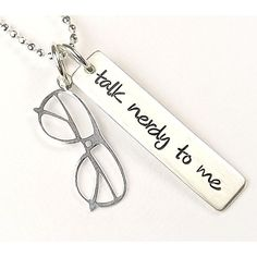 Talk Nerdy To Me Necklace - Sterling Silver Hand Stamped ($60) ❤ liked on Polyvore