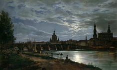 Johan Christian Clausen Dahl - Look at Dresden at full moonlight