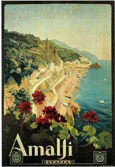 1927 Amalfi Italy Art Vintage  Travel Beach Poster  - www.varaldocosmetica.it/en