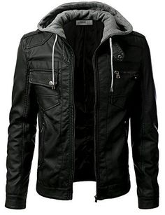 Urban Knight Pu Leather Motorcycle Bomber Jacket with Hood
