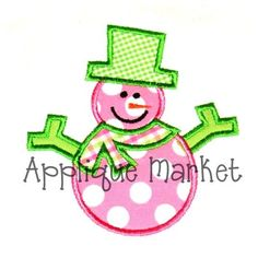 Machine Embroidery Design Applique Snowman by tmmdesigns on Etsy, $4.00