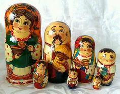 "Large Ukrainian Family 7 Piece Nesting Doll 8 25"" | eBay"