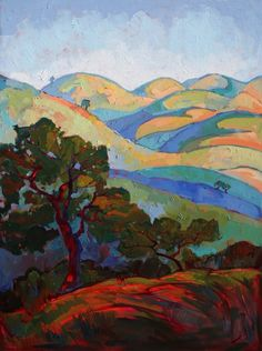 Faded Hills - Original oil painting by Erin Hanson