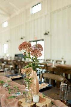 Wedding centerpiece ideas - fall rustic rose gold mauve centerpiece flowers