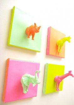 Unleash your inner animal lover + DIY a mini gallery wall of neon animal bodies.