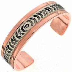 This Navajo Copper Silver Mens Cuff is the ideal accessory if you work out hard & play harder! The heavy gauge band is overlaid with hammered Sterling. Copper Bracelet, Copper Jewelry, Cuff Bracelets, Native American, Band, Sports, Silver, Inspiration, Accessories