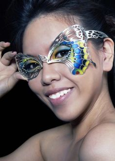 Heng Lee Make-up:Eye ornament-Butterfly (on model) plaque a jour vitreous enamel 'I present Chinese traditional craft as another inspiration of my collection, and display how the surprising flame can be generated when traditional patterns cross upon contemporary jewellery'