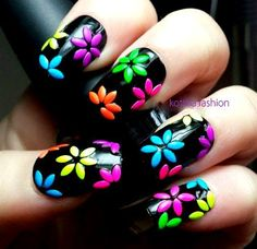 Black and neon flower nail art