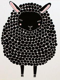 Ilustrações para quadros infantis - A Mãe Coruja  black sheep print