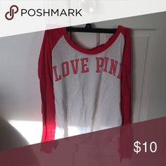 Pink Shirt Can be worn as long sleeves or can be rolled up PINK Victoria's Secret Tops Tees - Long Sleeve
