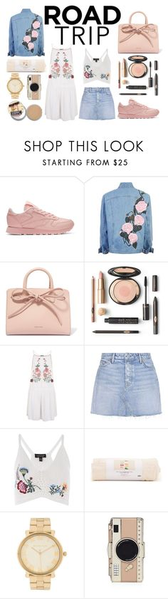 """Hot Summer"" by tatianafeghali ❤ liked on Polyvore featuring Reebok, Mansur Gavriel, Topshop, GRLFRND, ban.do, Michael Kors, Kate Spade and roadtrip"