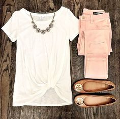 Blush Pink Jeans and BP white twist front pre knotted tee. Tory burch cognac an… Blush Pink Jeans and BP white twist front pre knotted tee. Tory burch cognac and gold minnie travel flats and baublebar statement necklace. Casual Spring weekend look. Mode Outfits, Casual Outfits, Fashion Outfits, Womens Fashion, Diy Outfits, Jeans Fashion, Fashion Clothes, Women's Clothes, Casual Shoes