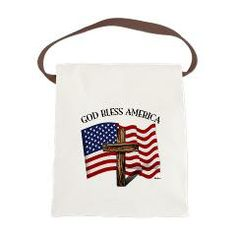 God Bless American With US Flag and Rugged Cross Canvas Lunch Bag   •   This design is available on t-shirts, hats, mugs, buttons, key chains and much more   •   Please check out our others designs at: www.cafepress.com/TsForJesus