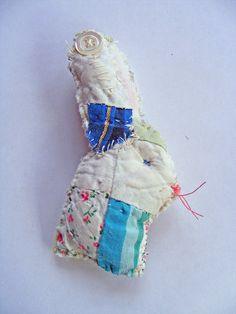 hand stitched bunny brooch