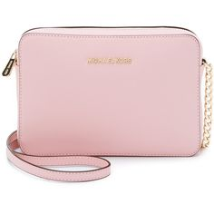 MICHAEL Michael Kors Jet Set Cross Body Bag ($150) ❤ liked on Polyvore featuring bags, handbags, shoulder bags, blossom, pink leather purse, pink crossbody, pink shoulder bag, leather crossbody purse and leather crossbody