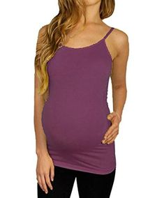 6afd9289b1513 Layering Basic Stretch Active Tank Top Camisoles, Available in Maternity  (ONE SIZE(MATERNITY), Purple)
