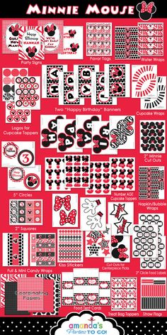 Minnie Mouse Party Red - On SALe -Birthday Party Inspired by Minnie Mouse - Zebra - HUGE Printable Set by Amanda's Parties TO GO