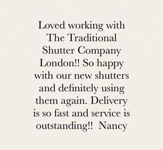 """We love hearing from our clients and so happy to share their feedback! """"Loved working with The Traditional Shutter Company London!! So happy with our new shutters and definitely using them again. Delivery is so fast and service is outstanding!!"""" Thank you for your kind words❣️ @nancytidy #TheTraditionalShutterCompanyLondon #custommade #shutters #balham #tooting #clapham #wandsworth #streatham #wimbledon #ttshutterco #happy #client #customer #feedback #interior #luxury #windowshutters #bespo Traditional Shutters, Customer Feedback, Window Shutters, Wimbledon, Kind Words, Definitions, Delivery, London, How To Plan"""