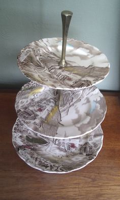 3 tier vintage cake stand.  Entitled 'Quiet Day' from the Staffordshire Pottery, England.