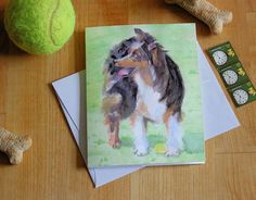 Minature Aussie Australian Shepherd Note Card Agility Dogs Watercolor Dog Lover Pet Sitter Gift Thank You Birthday Greeting Cards Invitation