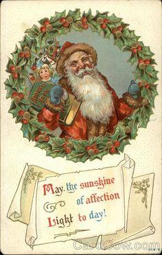 Santa Carrying Presents Framed With Holly Wreath Santa Claus #vintage #christmas #santa #postcard #postcards #ephemera #freebie #printable