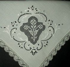 Antique 1900 Italian Linen Napkins Darned Lace Inset