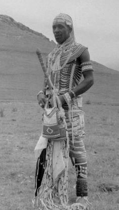 Thembu (Xhosa) man in his beaded finery. African Culture, African History, African Wear, African Dress, Xhosa Attire, Ancient Egyptian Jewelry, Traditional African Clothing, Spiritus, African Tribes
