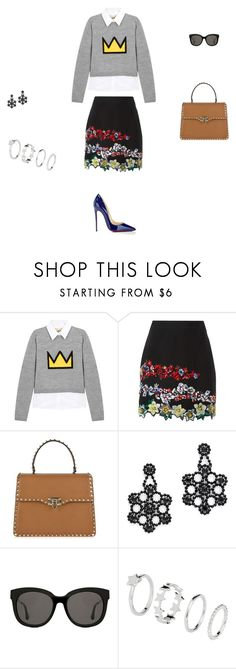 """""""Untitled #9283"""" by explorer-14576312872 ❤ liked on Polyvore featuring Alice + Olivia, MSGM, Valentino, Kate Spade, Gentle Monster, H&M and Christian Louboutin"""