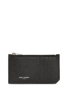 SAINT LAURENT - GRAINED LEATHER ZIP CARD HOLDER - NOK 1.885,-
