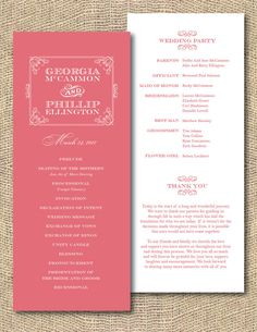 Printable Wedding Program  Southern Belle by iheartpaperandthread