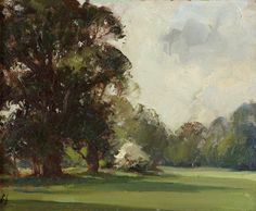 Edward Seago - View of the Gardens at Anglesey Abbey: The South Lawn with Elm Trees