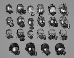 View an image titled 'Mask Designs Art' in our Resident Evil: Operation Raccoon City art gallery featuring official character designs, concept art, and promo pictures. Gas Mask Art, Masks Art, Gas Mask Drawing, Gas Masks, City Art, Armor Concept, Concept Art, Mask Design, Design Art