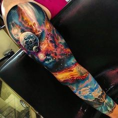 Crazy nice space sleeve by the one and only @romantattoos #spacetattoo #lostinspace #romanabrego #realism #colorrealism #boldandbeautiful #universe #stars #tattoo #tattoos #ink #tattooe