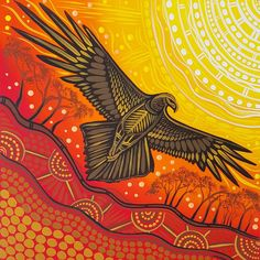 """""""Over the Valley"""" Bunjil the Wedge tailed eagle soaring over the Valley Aboriginal Art Animals, Aboriginal Painting, Encaustic Painting, Indigenous Australian Art, Indigenous Art, Native Art, Native American Art, Aboriginal Tattoo, Eagle Art"""