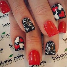 Valentine's Day Acrylic Nail Art Designs & Ideas 2019 Vday Nails - Valentine's Day is synonymous with love, warmth and friendliness, where we experience the solace of love with our other half-soul sister. Love Nails, Red Nails, Pretty Nails, White Nails, Botanic Nails, Valentine Nail Art, Valentine's Day Nail Designs, Nails Polish, Nagel Gel