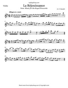 La Réjouissance from Royal Fireworks by Handel. Free sheet music for violin. Visit toplayalong.com and get access to hundreds of scores for violin with backing tracks to playalong.