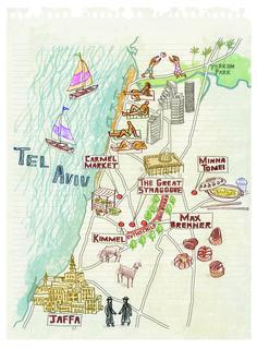 Tel Aviv map by Robert Littleford, January 2016 issue