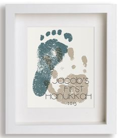 "Hanukkah Gift for the Baby:  ""Baby's First Hanukkah"" Personalized Foot and Hand Print Art by Niko and Lily @ Etsy"
