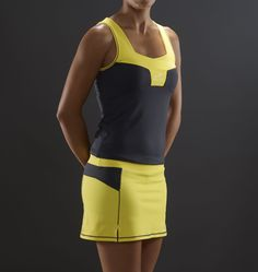 Endless Lux Yellowl - Conjunto Top y Falda de Padel y Tenis - Mujer