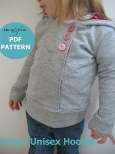 Urban Unisex Hoodie pattern and tutorial 6M - 5T PDF pattern boy girl - I have this pattern and the material to make matching ones for all my kids