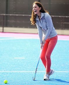 The Duchess of Cambridge (in her tight-fittin' jeans) plays field hockey with team Great Britain