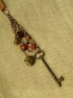 Skeleton Key Necklace with Copper and Semi by DeanneConley on Etsy, $40.00