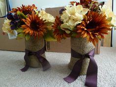 Flowers, Reception, Centerpiece, Fall, Rustic, Burlap