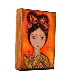 Frida with Braid  Original Mixed Media Paintings on by FlorLarios, $65.00