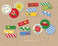 """Boys Toys Fun Transport Car Bus Truck Train Colorful Happy Birthday Cute Party Decoration 2.2"""" Circles   Cake Toppers & Flags - Printable Digital File by fatfatin"""