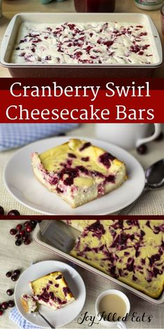 Cranberry Swirl Cheesecake Bars. Low Carb, Grain Free, THM S. With a beautiful cranberry swirl and a creamy filling they will be the hit of your dessert table.  via @joyfilledeats