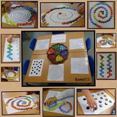 "Fine motor skills and hand-eye coordination with spirals and other patterns with glass pebbles (patterns free to download) - from Rachel ("",)"