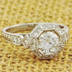 Vintage Inspired Octagonal Diamond Engagement Ring | Perry's Fine Antique & Estate Jewelry