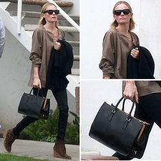 kate bosworth, chic in brown and black